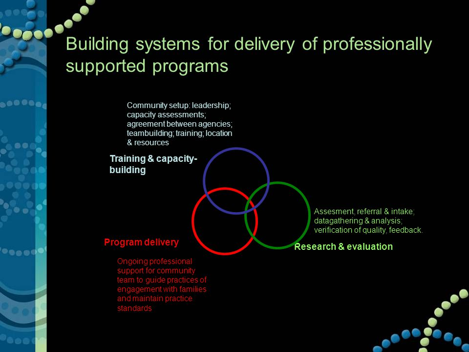 Building systems for delivery of professionally supported programs Training & capacity- building Research & evaluation Program delivery Assesment, referral & intake; datagathering & analysis; verification of quality, feedback.
