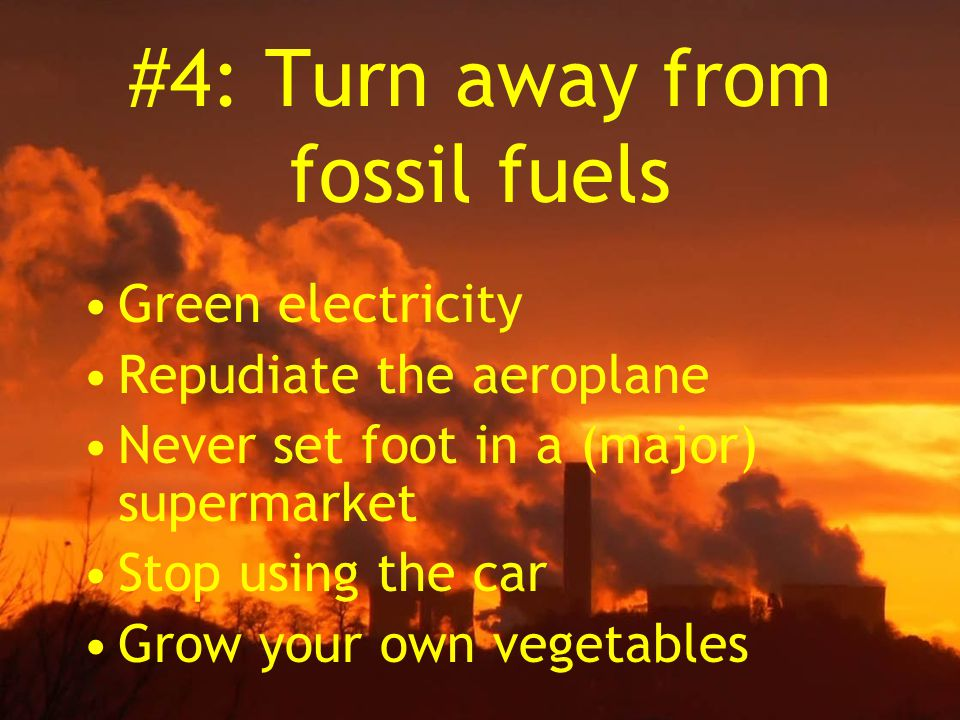 #4: Turn away from fossil fuels Green electricity Repudiate the aeroplane Never set foot in a (major) supermarket Stop using the car Grow your own vegetables