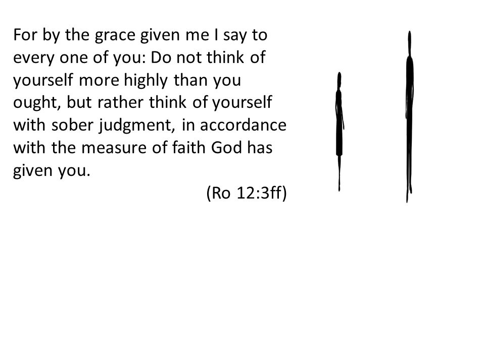 For by the grace given me I say to every one of you: Do not think of yourself more highly than you ought, but rather think of yourself with sober judgment, in accordance with the measure of faith God has given you.