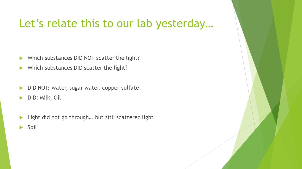 Let's relate this to our lab yesterday…  Which substances DID NOT scatter the light.