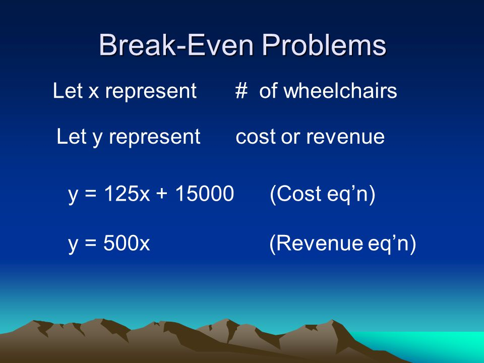 Break-Even Problems Let x represent# of wheelchairs Let y representcost or revenue y = 125x + 15000 (Cost eq'n) y = 500x (Revenue eq'n)