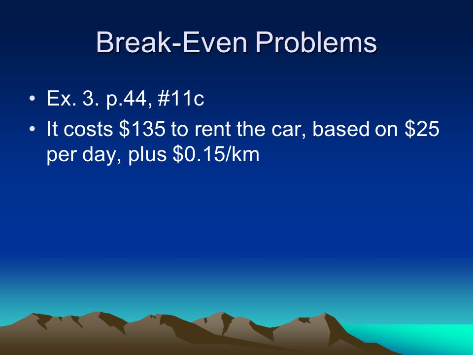 Break-Even Problems Ex. 3.