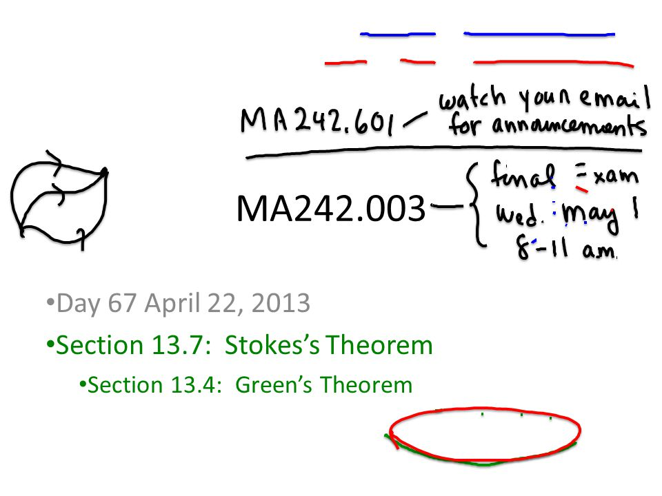 MA242.003 Day 67 April 22, 2013 Section 13.7: Stokes's Theorem Section 13.4: Green's Theorem