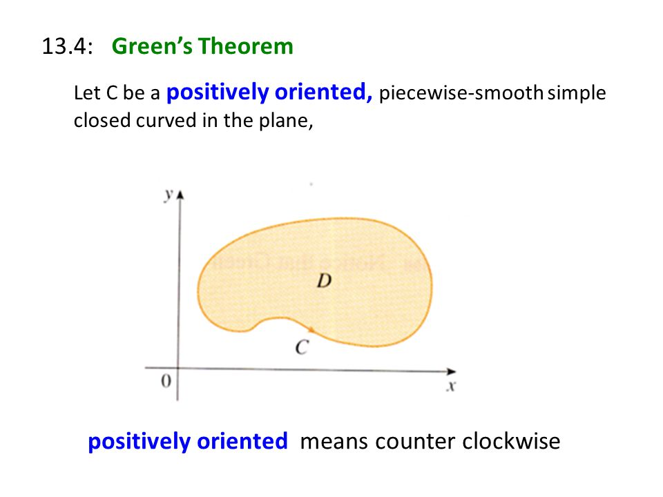 13.4: Green's Theorem Let C be a positively oriented, piecewise-smooth simple closed curved in the plane, positively oriented means counter clockwise