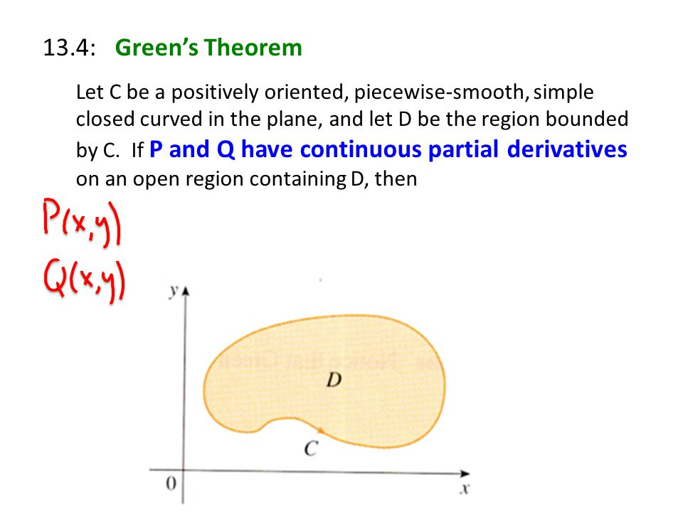13.4: Green's Theorem Let C be a positively oriented, piecewise-smooth, simple closed curved in the plane, and let D be the region bounded by C.