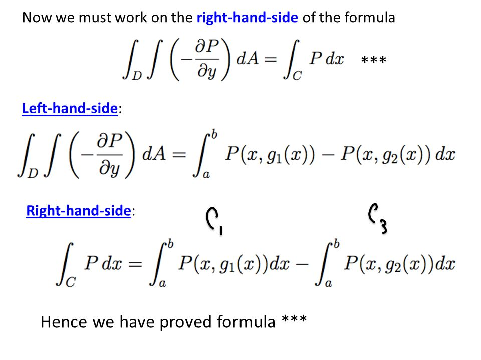 Now we must work on the right-hand-side of the formula Left-hand-side: Right-hand-side: Hence we have proved formula *** ***