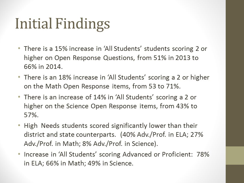 Initial Findings There is a 15% increase in 'All Students' students scoring 2 or higher on Open Response Questions, from 51% in 2013 to 66% in 2014.