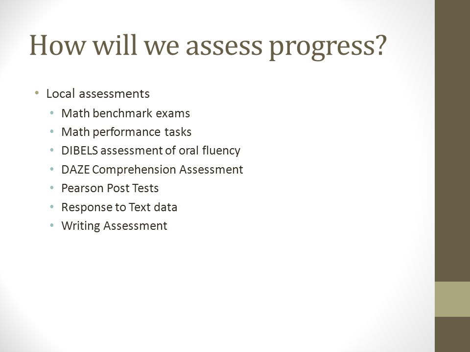 How will we assess progress.