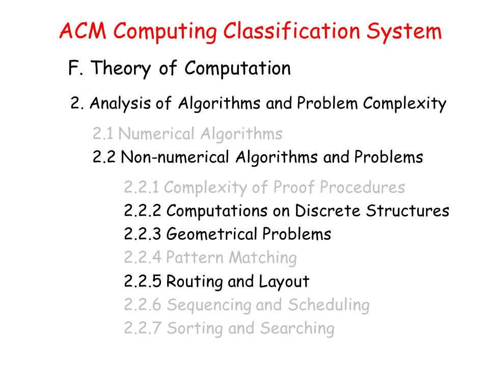 ACM Computing Classification System F. Theory of Computation 2.