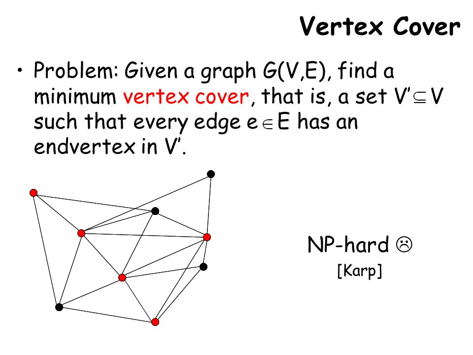 Vertex Cover Problem: Given a graph G(V,E), find a minimum vertex cover, that is, a set V' V such that every edge e E has an endvertex in V'.