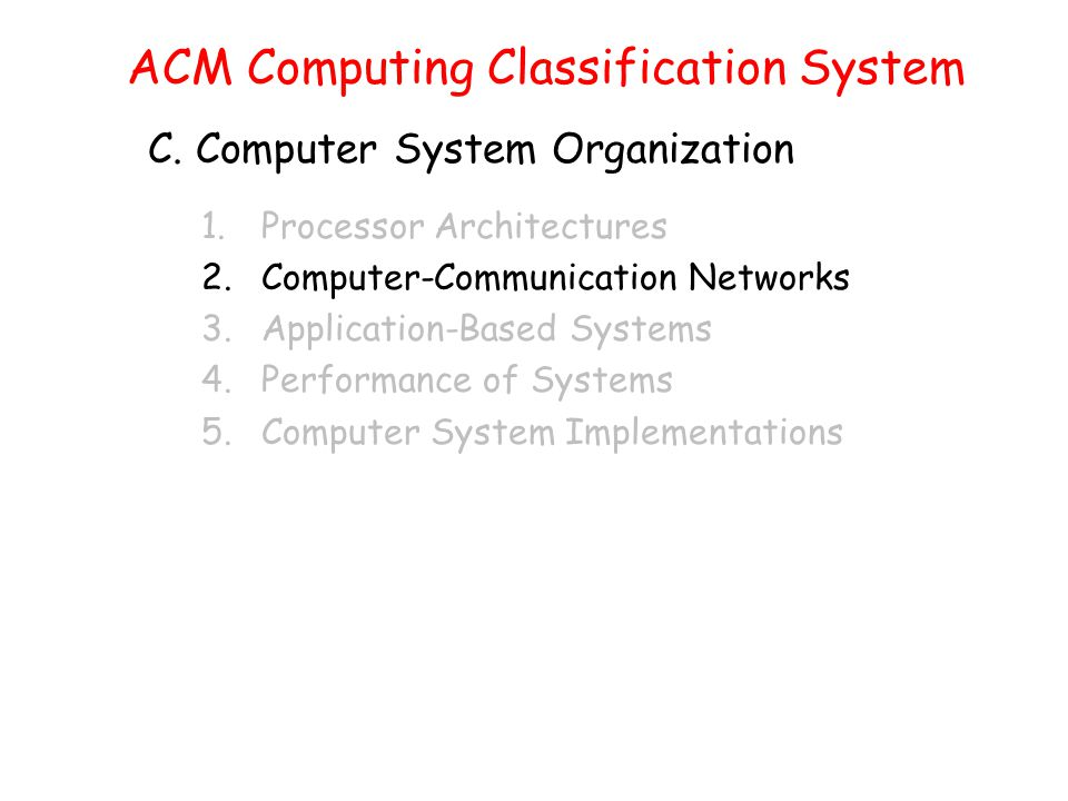 ACM Computing Classification System C.