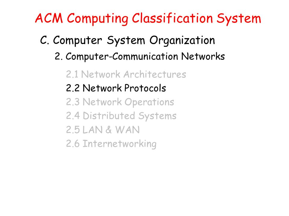 ACM Computing Classification System C. Computer System Organization 2.