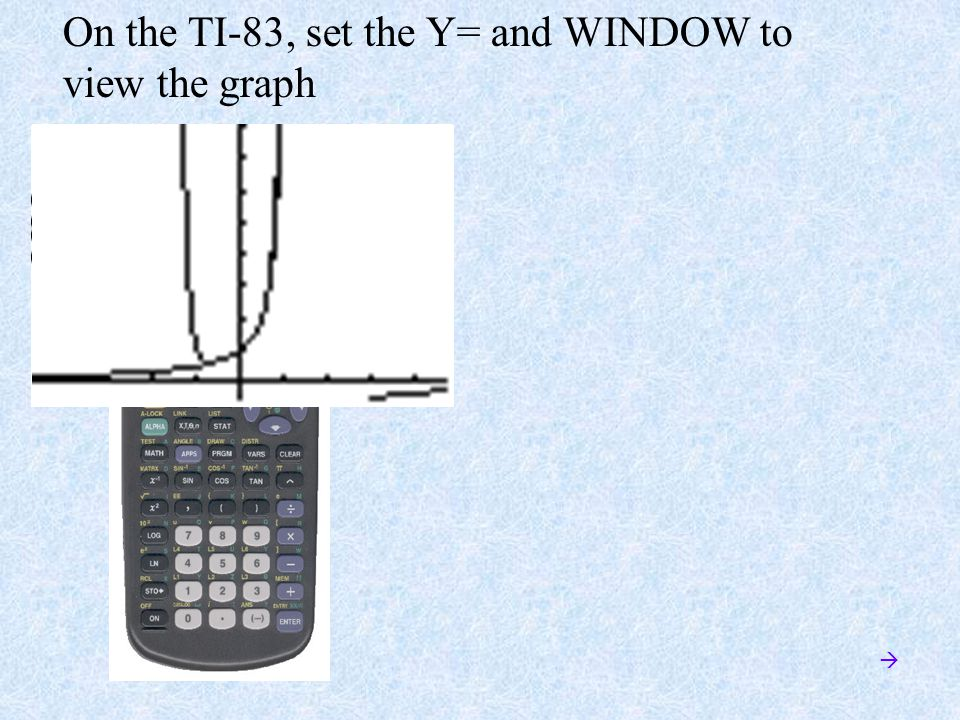 On the TI-83, set the Y= and WINDOW to view the graph 