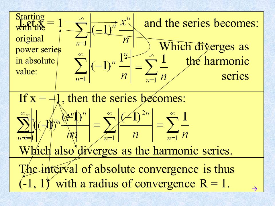 Let x = 1 and the series becomes: If x = –1, then the series becomes: Which also diverges as the harmonic series.
