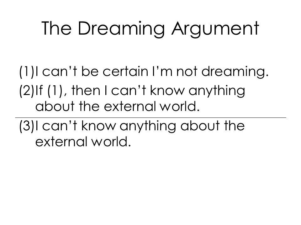 The Dreaming Argument (1)I can't be certain I'm not dreaming.
