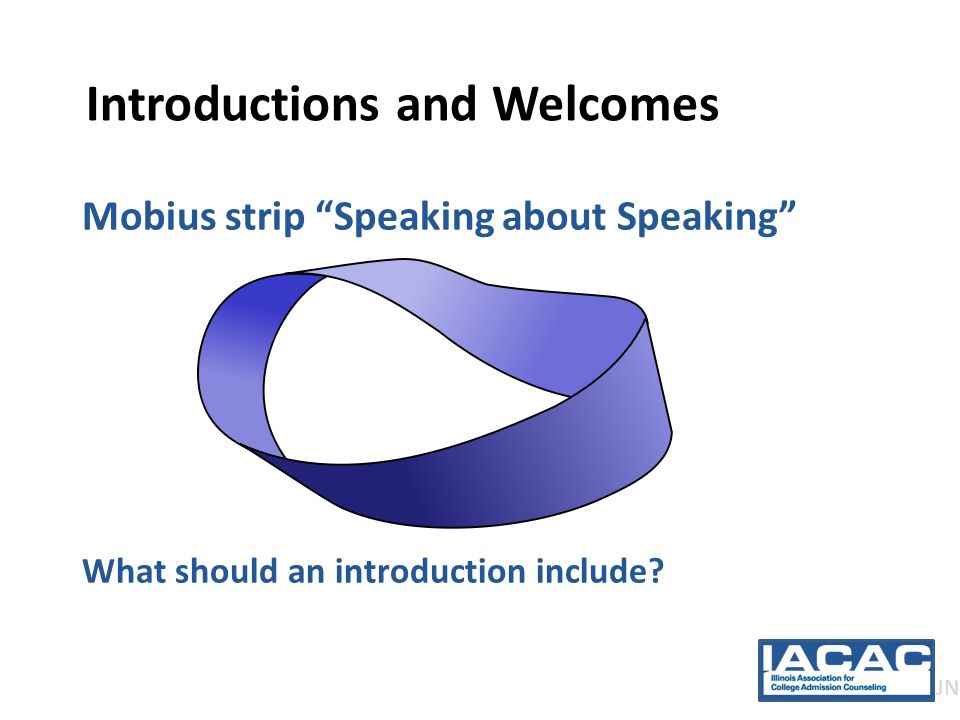 Introductions and Welcomes Mobius strip Speaking about Speaking What should an introduction include.