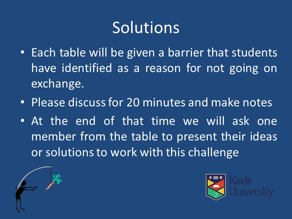 Solutions Each table will be given a barrier that students have identified as a reason for not going on exchange.