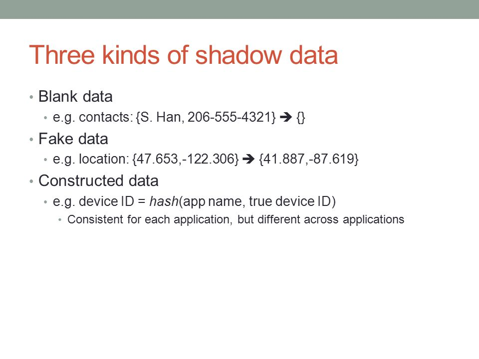 Three kinds of shadow data Blank data e.g. contacts: {S.