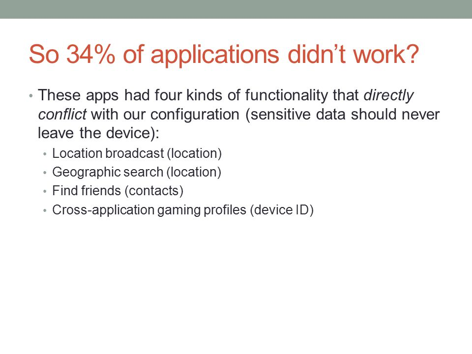 So 34% of applications didn't work.