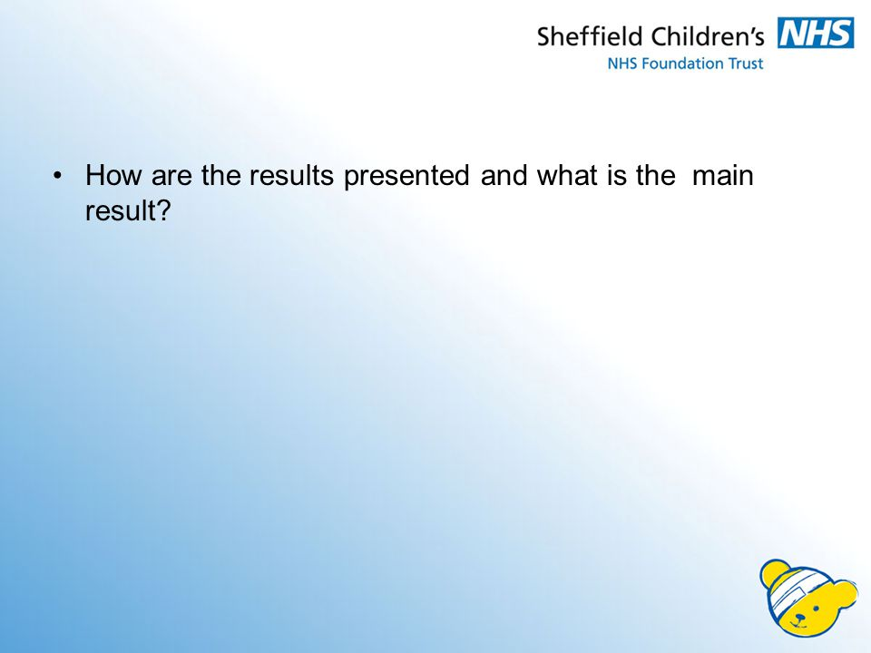 How are the results presented and what is the main result