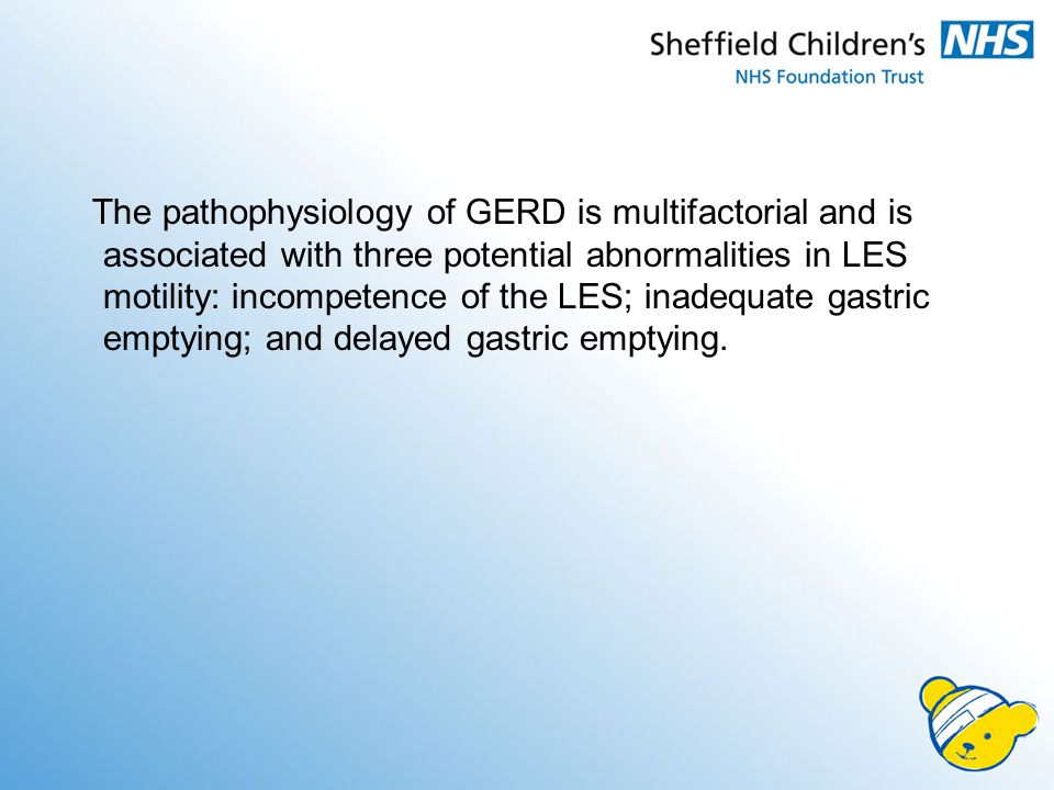 The pathophysiology of GERD is multifactorial and is associated with three potential abnormalities in LES motility: incompetence of the LES; inadequate gastric emptying; and delayed gastric emptying.