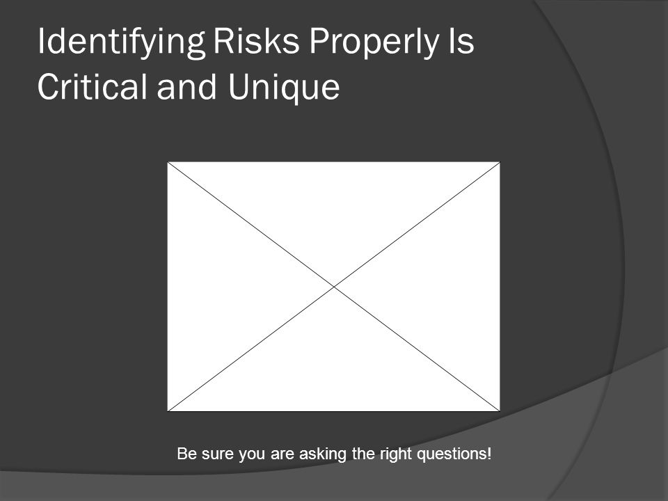 Identifying Risks Properly Is Critical and Unique Be sure you are asking the right questions!