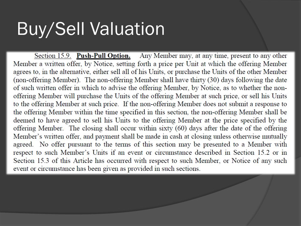 Buy/Sell Valuation