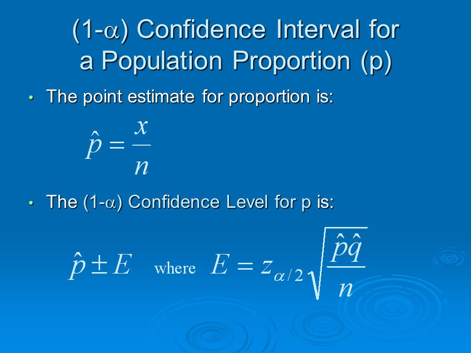 (1-  ) Confidence Interval for a Population Proportion (p) The point estimate for proportion is: The point estimate for proportion is: The (1-  ) Confidence Level for p is: The (1-  ) Confidence Level for p is: