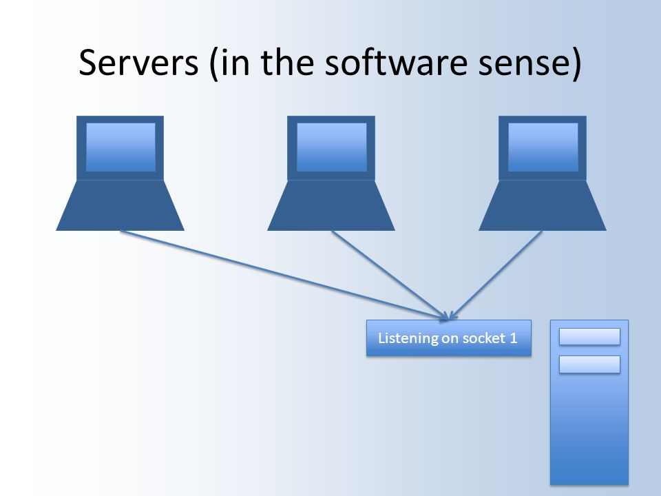 Servers (in the software sense) Listening on socket 1