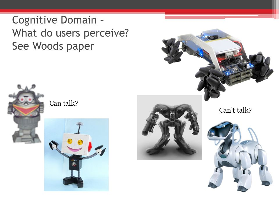 Cognitive Domain – What do users perceive See Woods paper Can talk Can't talk