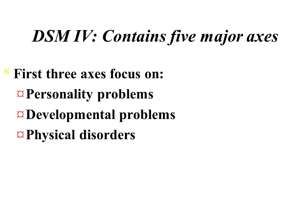 Classifying Abnormal Behavior *Five axes of the DSM-IV *DSM is designed to be primarily descriptive and devoid of suggestions as to the underlying causes of an individual's behavior and problems