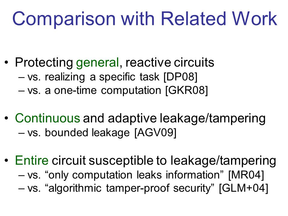 Comparison with Related Work Protecting general, reactive circuits –vs.