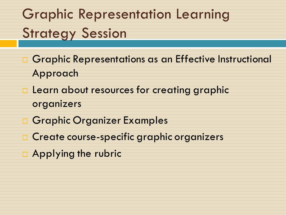 Graphic Representation Learning Strategy Session  Graphic Representations as an Effective Instructional Approach  Learn about resources for creating graphic organizers  Graphic Organizer Examples  Create course-specific graphic organizers  Applying the rubric