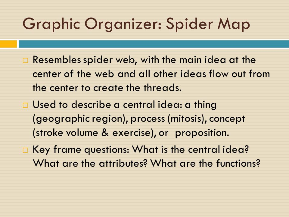 Graphic Organizer: Spider Map  Resembles spider web, with the main idea at the center of the web and all other ideas flow out from the center to create the threads.