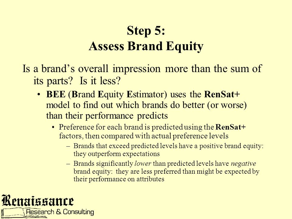 Step 5: Assess Brand Equity Is a brand's overall impression more than the sum of its parts.