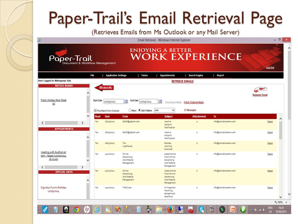 Paper-Trail's  Retrieval Page (Retrieves  s from Ms Outlook or any Mail Server)
