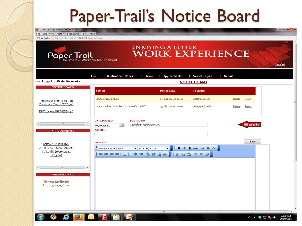 Paper-Trail's Notice Board