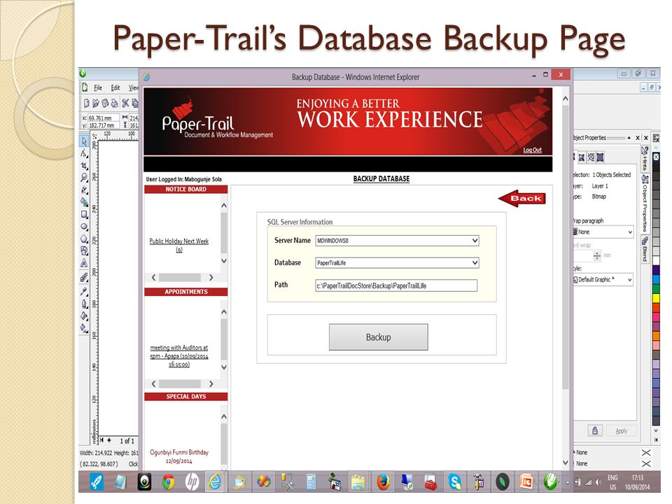 Paper-Trail's Database Backup Page
