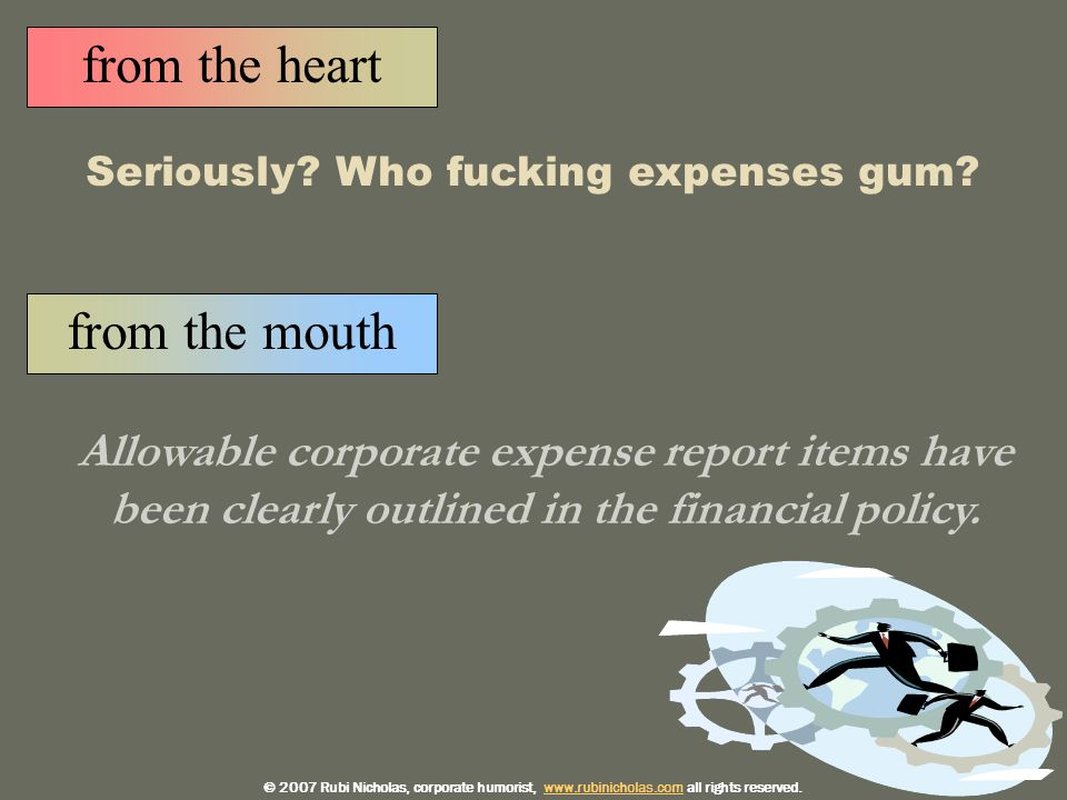 from the mouth Allowable corporate expense report items have been clearly outlined in the financial policy.