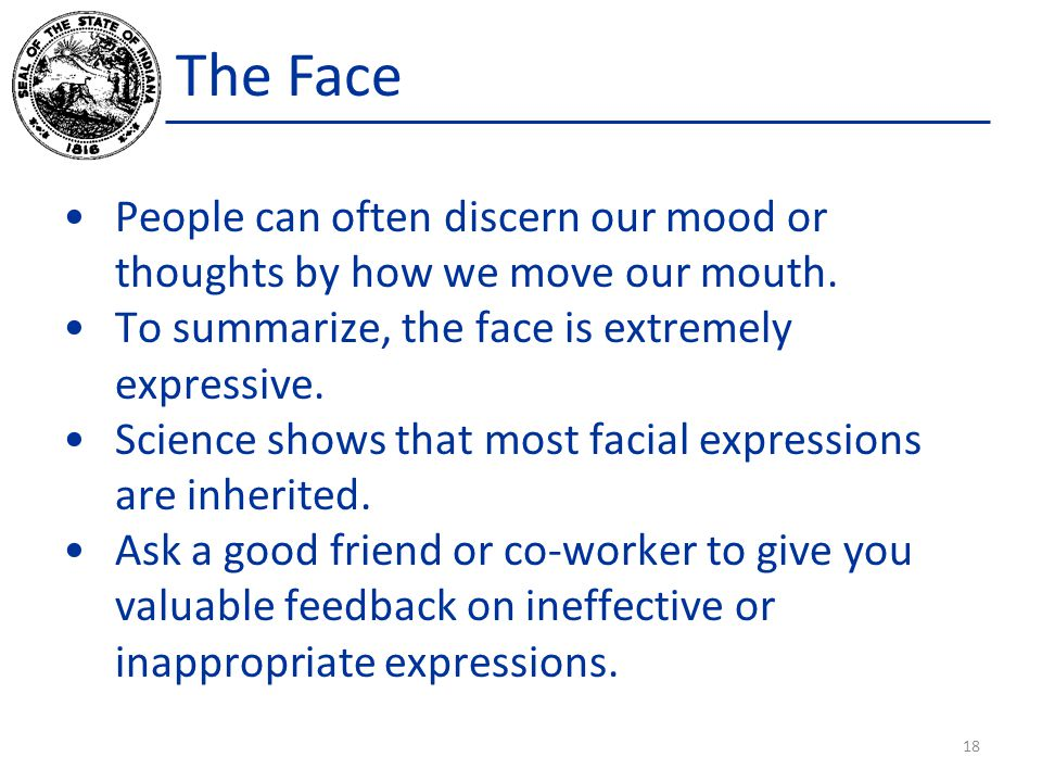 The Face People can often discern our mood or thoughts by how we move our mouth.
