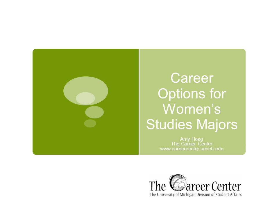 Career Options for Women's Studies Majors Amy Hoag The Career Center www.careercenter.umich.edu