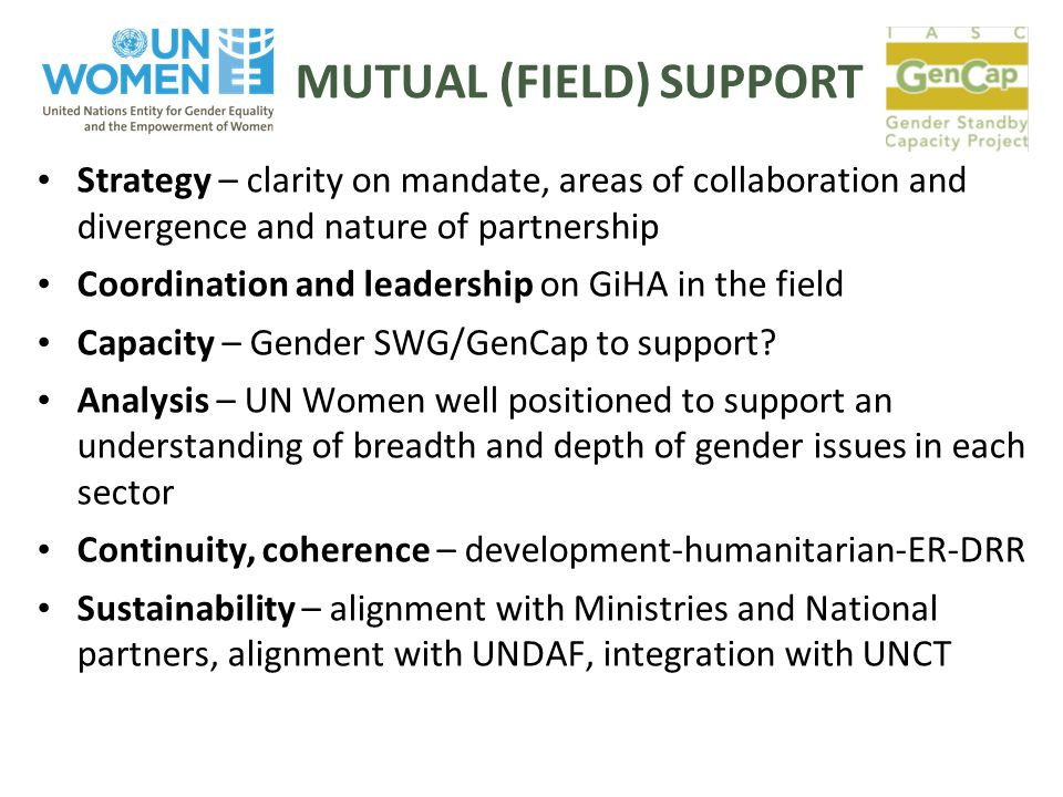 MUTUAL (FIELD) SUPPORT Strategy – clarity on mandate, areas of collaboration and divergence and nature of partnership Coordination and leadership on GiHA in the field Capacity – Gender SWG/GenCap to support.