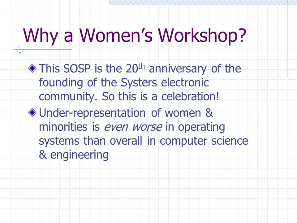 Why a Women's Workshop.