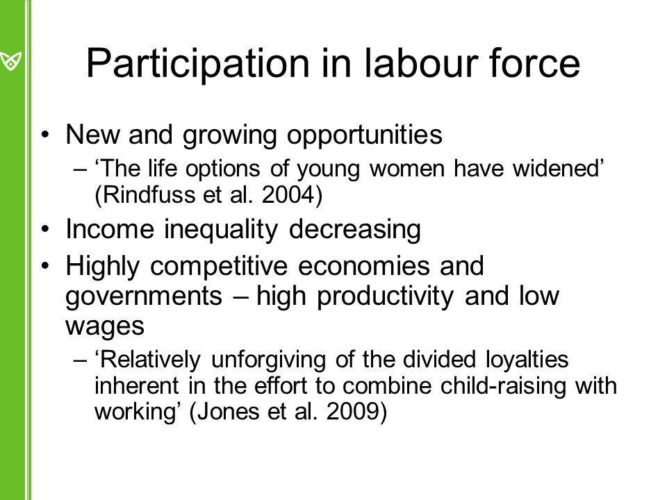 Participation in labour force New and growing opportunities –'The life options of young women have widened' (Rindfuss et al.