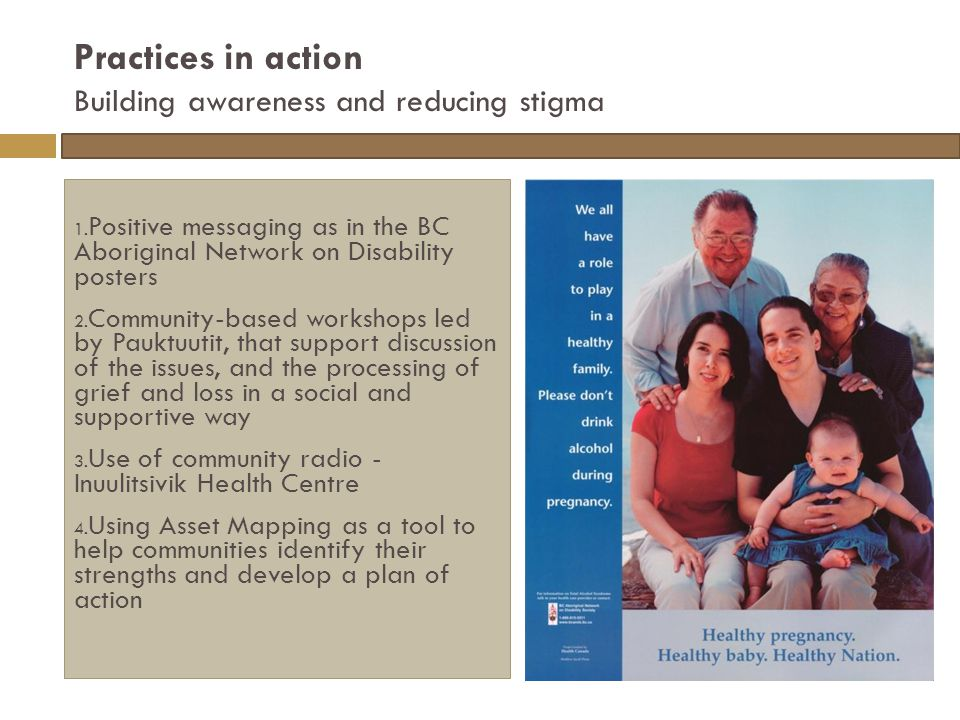 Practices in action Building awareness and reducing stigma 1.