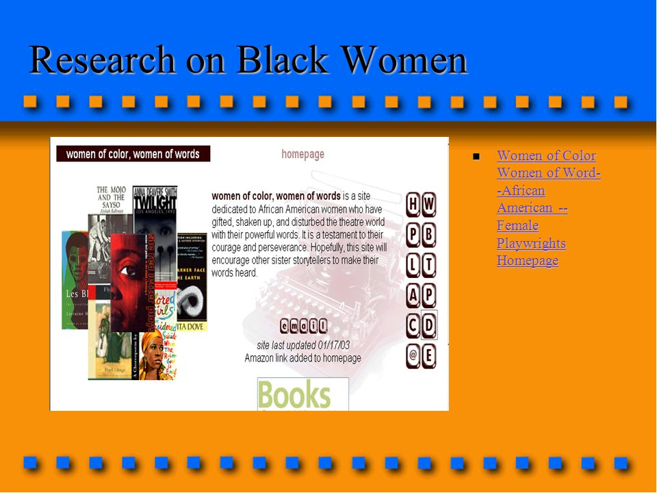 Research on Black Women n Women of Color Women of Word- -African American -- Female Playwrights Homepage Women of Color Women of Word- -African American -- Female Playwrights Homepage Women of Color Women of Word- -African American -- Female Playwrights Homepage
