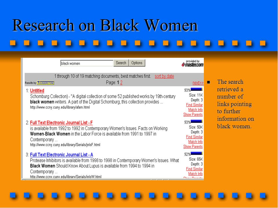 Research on Black Women n The search retrieved a number of links pointing to further information on black women.