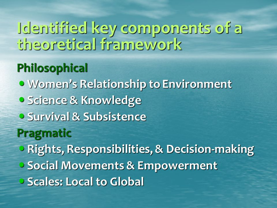 Identified key components of a theoretical framework Philosophical Women's Relationship to Environment Women's Relationship to Environment Science & Knowledge Science & Knowledge Survival & Subsistence Survival & SubsistencePragmatic Rights, Responsibilities, & Decision-making Rights, Responsibilities, & Decision-making Social Movements & Empowerment Social Movements & Empowerment Scales: Local to Global Scales: Local to Global