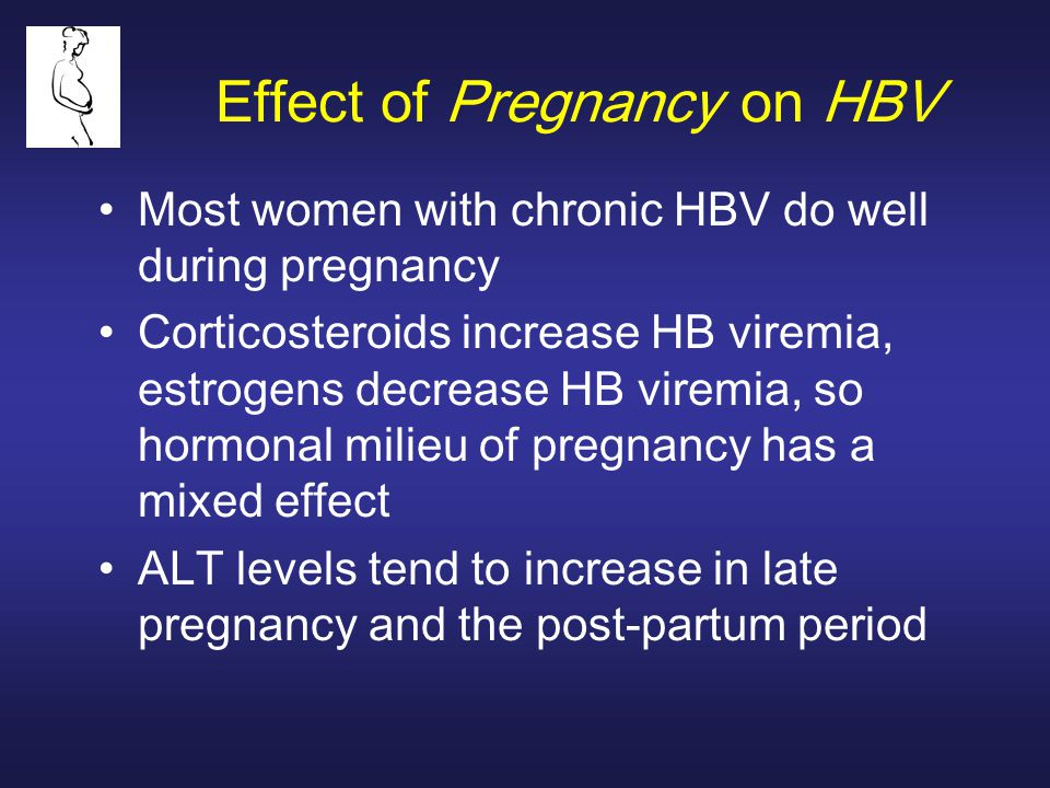 Effect of Pregnancy on HBV Most women with chronic HBV do well during pregnancy Corticosteroids increase HB viremia, estrogens decrease HB viremia, so hormonal milieu of pregnancy has a mixed effect ALT levels tend to increase in late pregnancy and the post-partum period