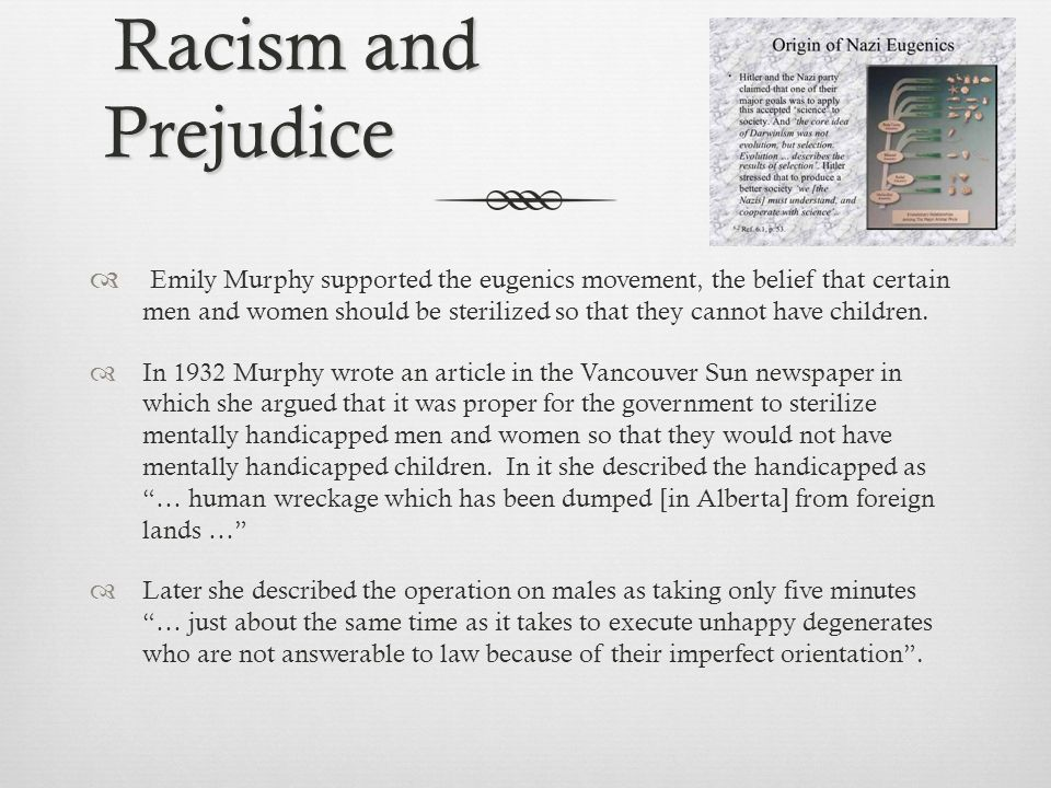 Racism and Prejudice Racism and Prejudice  Emily Murphy supported the eugenics movement, the belief that certain men and women should be sterilized so that they cannot have children.